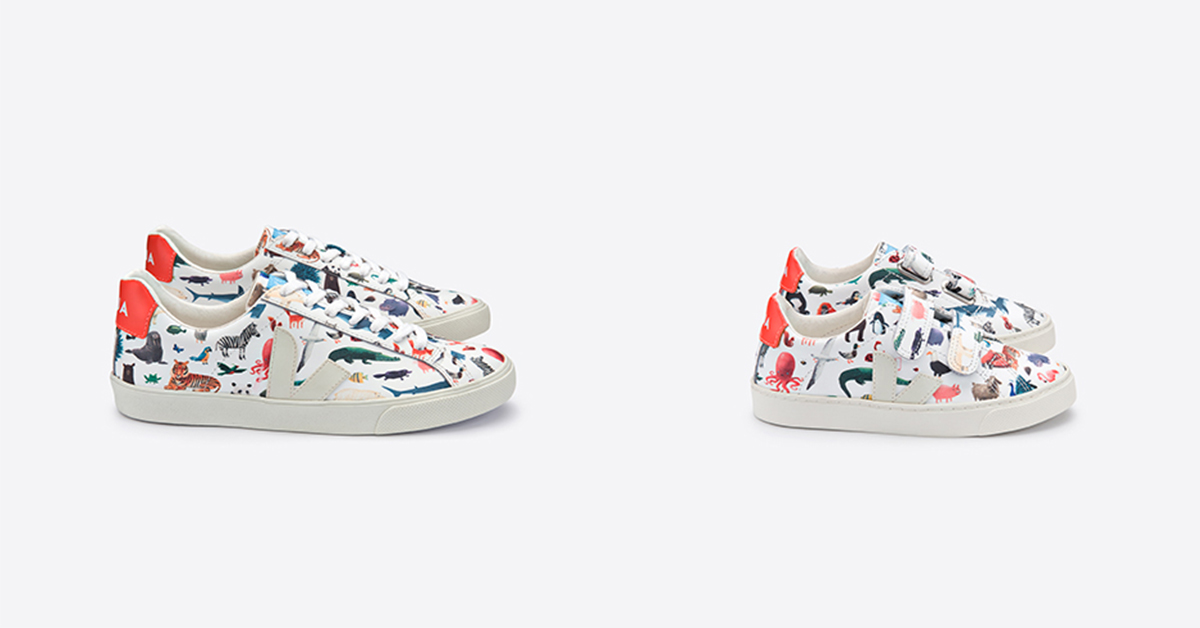 Baskets de la collection Veja x Oliver Jeffers.