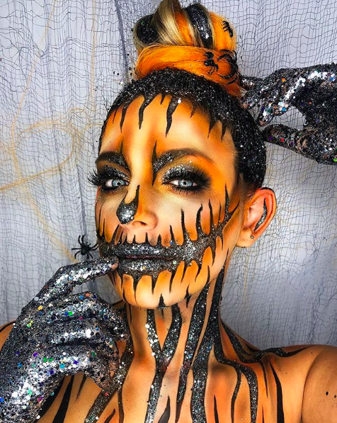 maquillage halloween citrouille