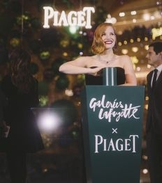Jessica Chastain inaugure le sapin des Galeries Lafayette