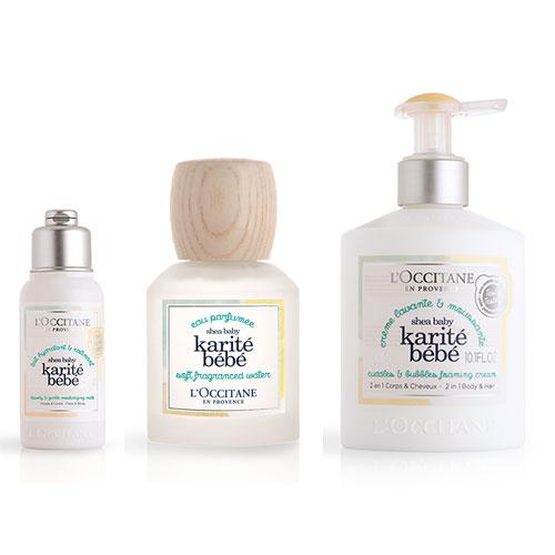 Les 3 produits de la gamme Karité bébé de L'Occitane.