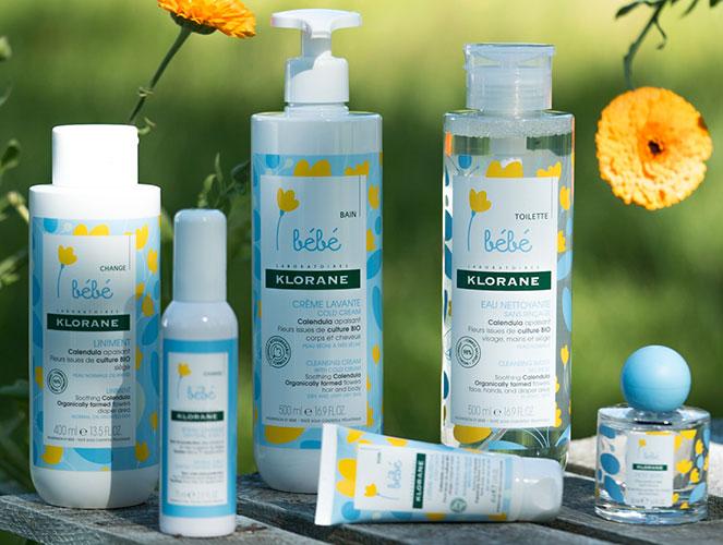 La gamme de soins pour bébé Calendula bio de Klorane.