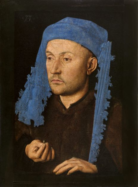 Jan van Eyck, L'Homme au chaperon bleu, vers 1428-30 (Muzeul National Brukenthal, Sibiu, Roumanie)