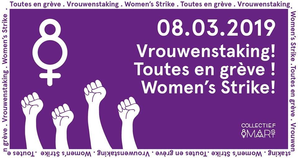 affiche grève des femmes belgique