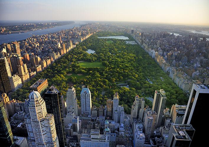 Vue aérienne de Central Park à New York aux Etats-Unis.