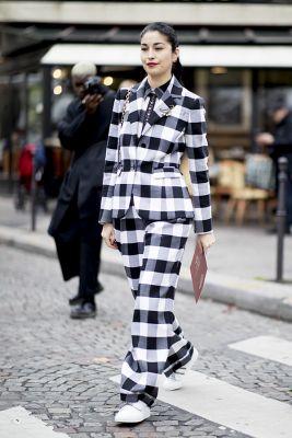 costume à carreaux paris fashion week
