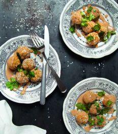 Les super boulettes véganes, patates douces, gingembre et lait de coco