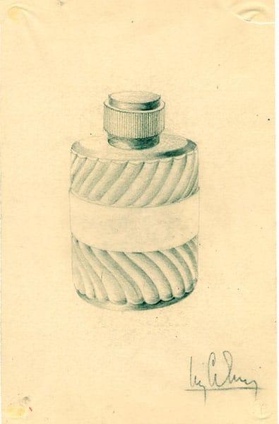 Esquisse du flacon d'Eau Sauvage-flacon imaginé par Pierre Camin en 1965.