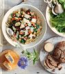 Freekeh aux aubergines, patates douces et courgettes avec copeaux de Gruyère AOP Réserve