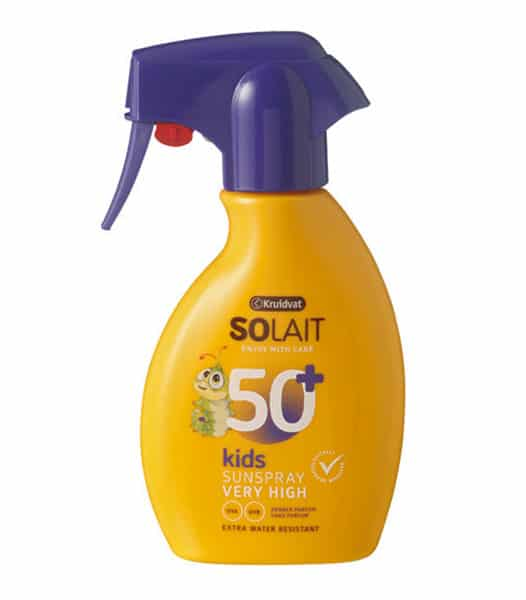 Crème solaire Solait Kids 50+ de Kruidvat élue meilleure crème solaire pour enfants par Test-Achats.
