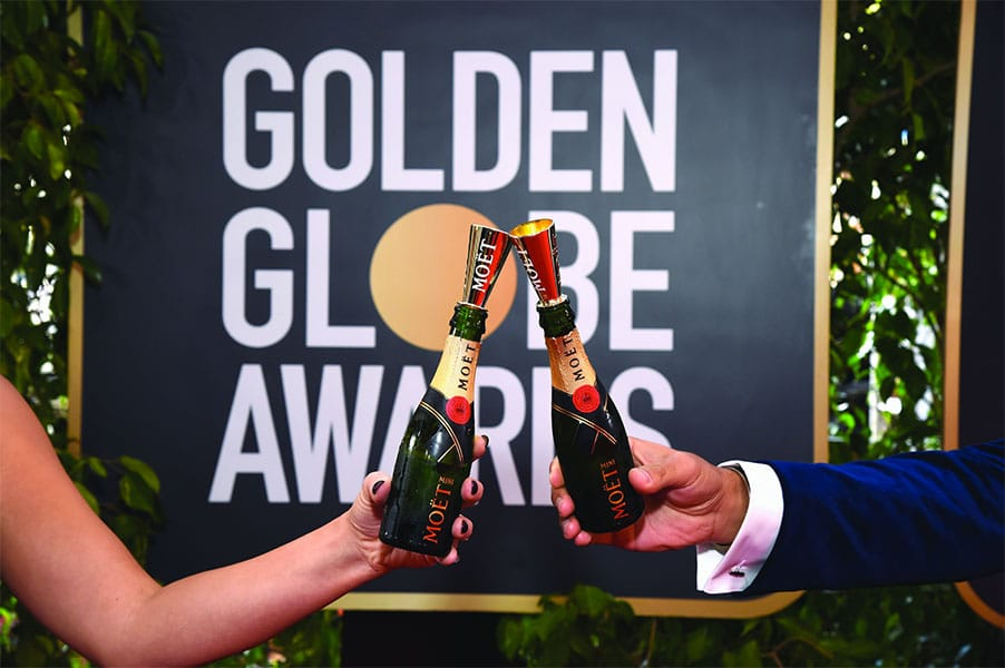 Mini bouteilles de Moët & Chandon offertes aux invités des Golden Globe Awards.