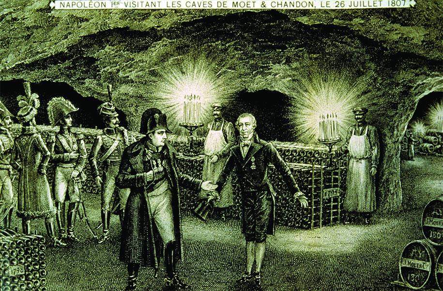 L'Empereur Napoléon visitant les caves Moët & Chandon.