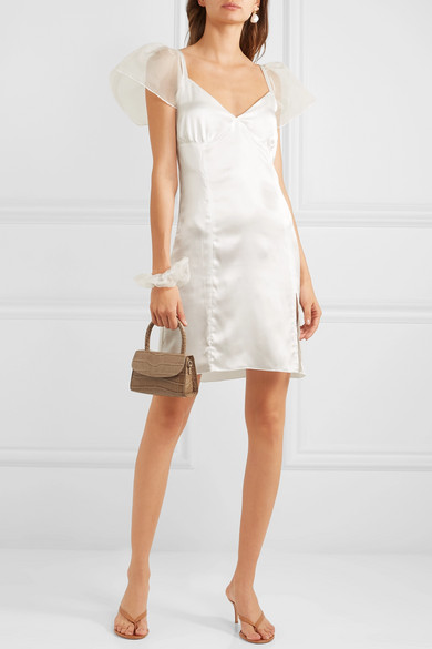 robe blanche en soie maison cleo en solde