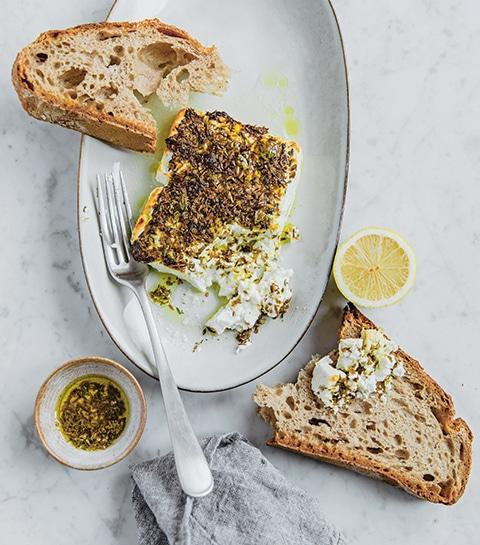 Feta rôtie, thym et graines de fenouil