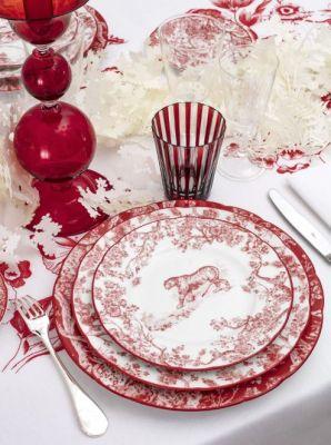 Assiette avec motif Toile de Jouy et Tigre rouge