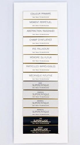 Set d'échantillons de la gamme de parfums Les Eaux Primordiales d'Arnaud Poulain.