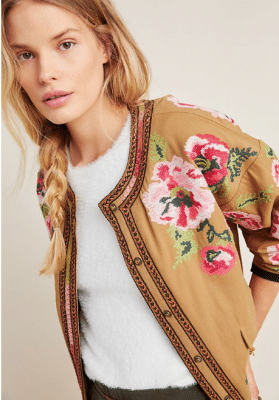 Veste brodée Anthropologie