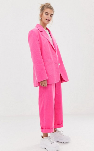Costume en velours rose asos