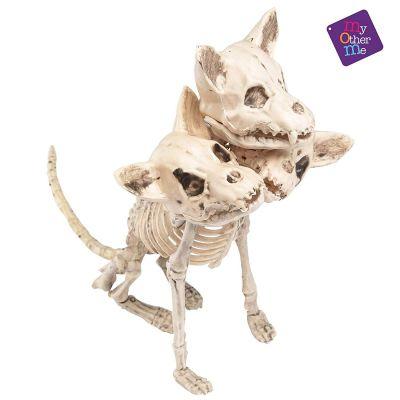 décoration halloween squelette trois têtes