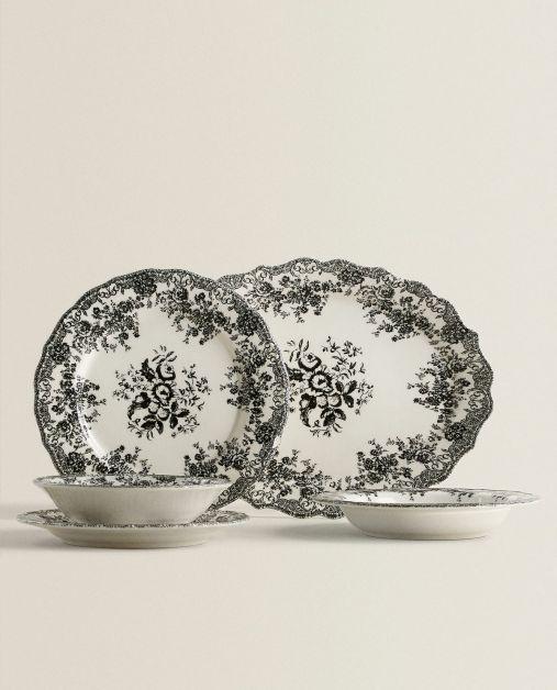 assiette noir et blanc