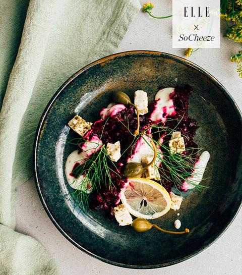 Salade de fenouil, roquette, tomates, vinaigre balsamiques et SoCheeze aux herbes méditerranéennes