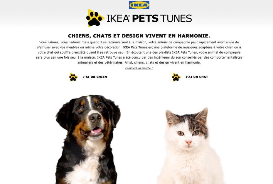 Interface d'accueil du site IKEA PETS TUNES.