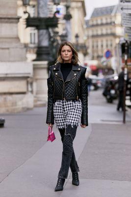 Cuir, jeans et pied-de-poule