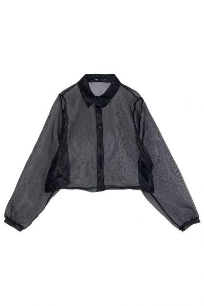 Chemisier noir transparent Zara