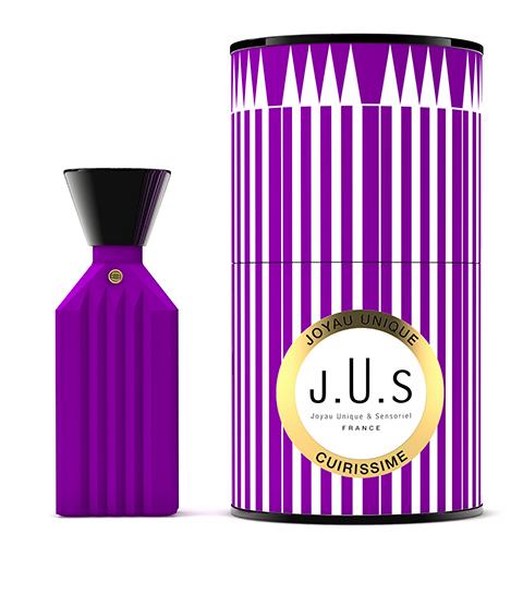 J.U.S parfum Cuirissime au flacon vintage et unique en vente chez Senteurs d'Ailleurs.