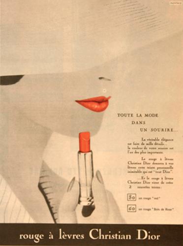 Publicité vintage pour le rouge à lèvres Christian Dior parue dans Eikones.