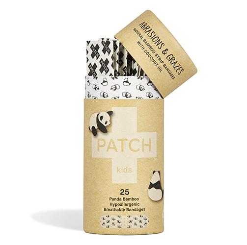 La gamme de pansements Patch pour enfants décorés avec des pandas.