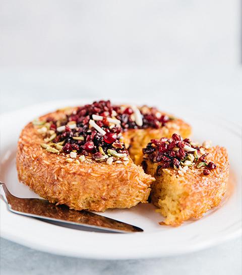 Gâteau de riz persan au safran