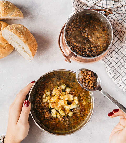Soupe de lentilles végétarienne