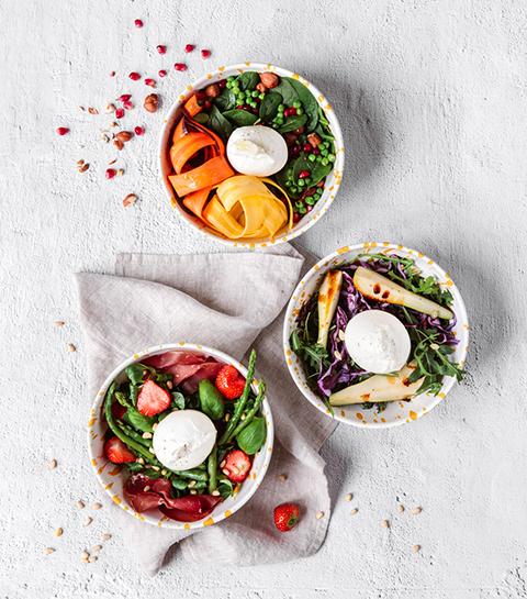 3 idées de salades gourmandes avec de la burrata