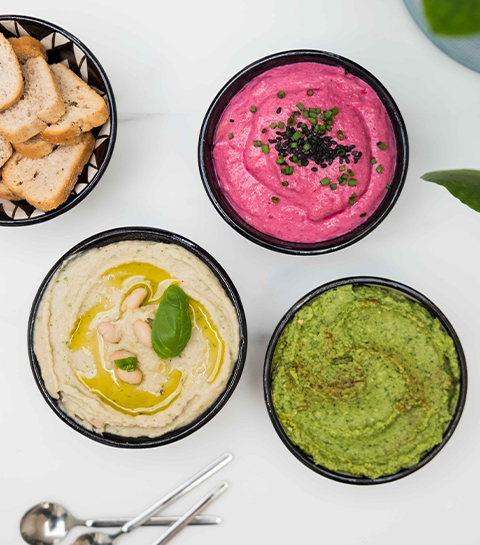 Apéro time : 3 houmous… sans pois chiches !