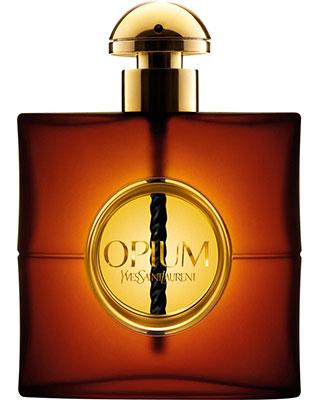 Flacon du parfum Opium d'Yves Saint Laurent dont le nom à fait scandale au moment de sa sortie.