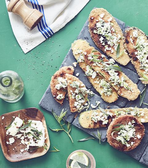 Barbecue : légumes panés et grillés, feta & estragon