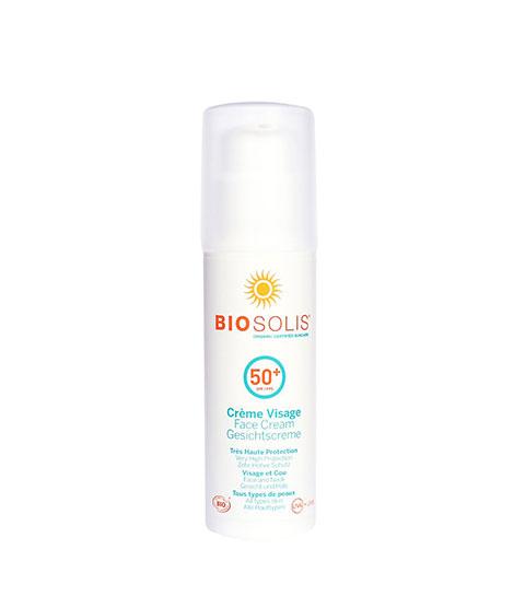 Crème solaire visage Biosolis à la texture fondante avec SPF 50+
