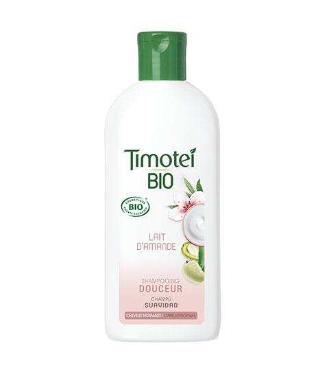 Shampoing ultra doux à base de lait d'amande de la nouvelle gamme bio de Timotei.