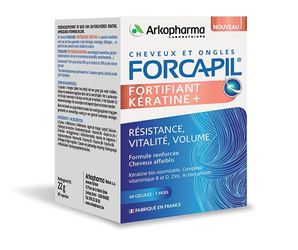 Forcapil Fortifiant Kératine +, cure d'un mois 60gélules, 22,90€