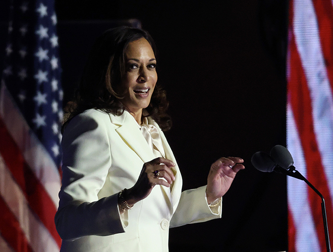 Kamala Harris en plein discours lors de la course à la présidentielle.