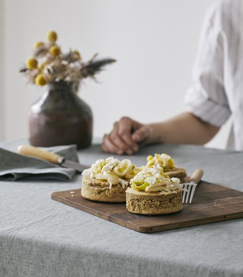 Les pancakes japonais et poireaux à la feta d'Aline Gérard