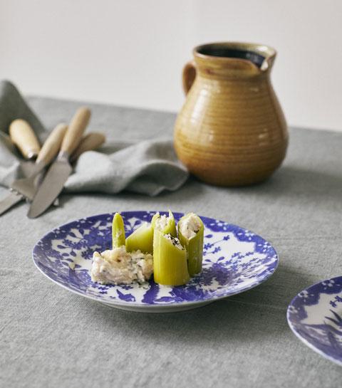 Les poireaux farcis aux rillettes de truite d'Aline Gérard