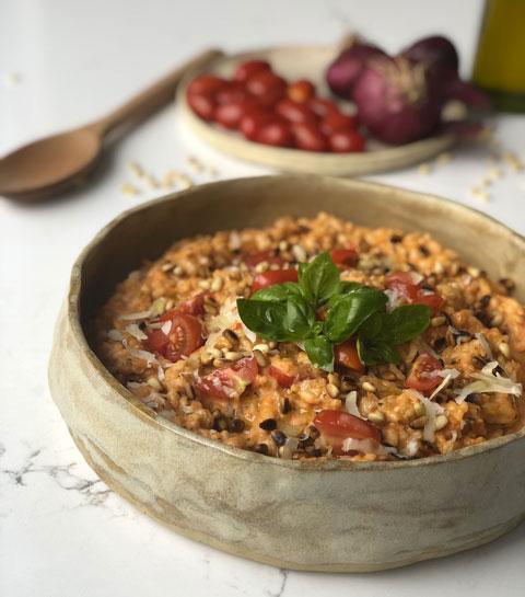 Le Risotto aux tomates, ricotta et basilic des Délices de Margaux