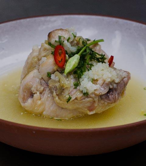 Le poulet coréen façon Samgyetang de Sang Hoon Degeimbre