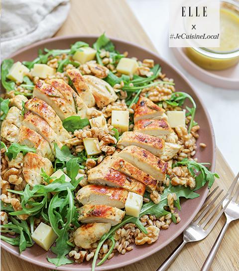 Salade au poulet, petit épeautre et vinaigrette miel-moutarde