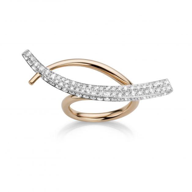 6 Bague Wave en or rose et or blanc sertie de diamants