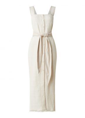 Rita maxi jurk met details van leer en strikceintuur, Nanushka De bijenkorf