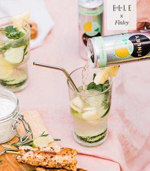 Mocktail van ananas, komkommer & munt