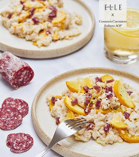 Risotto met gele courgette, ricotta & Salami Italiani alla Cacciatora DOP