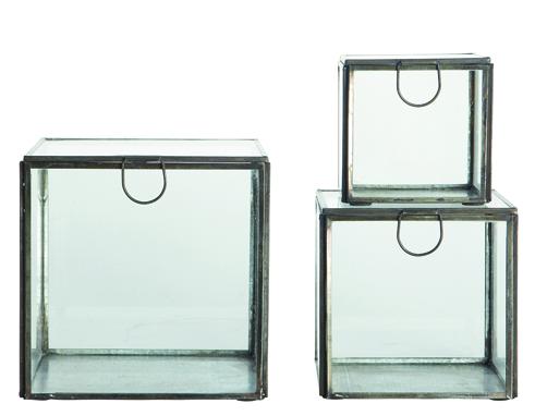 Glazen opbergdozen - per set van 3 - 55 €